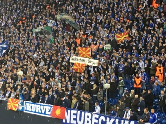 Schalke fans welcomes Greek team with Macedonian Flags