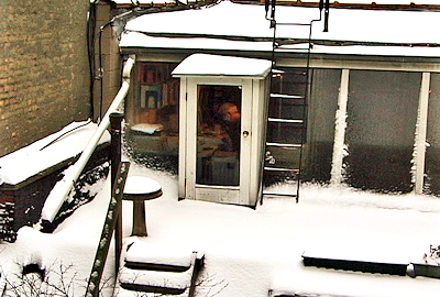 Hopkins writes in loft during snowstorm, 1997