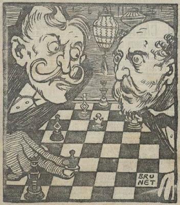 Dibujo de una partida de ajedrez ficticia entre los políticos Salmerón y Maura publicada en 1904
