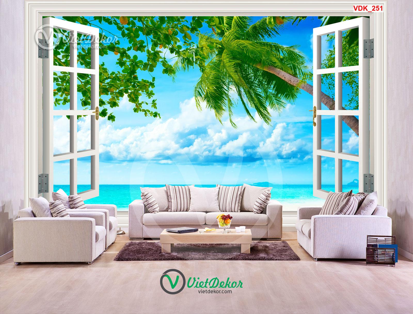 Tranh 3d cửa sổ biển và mây