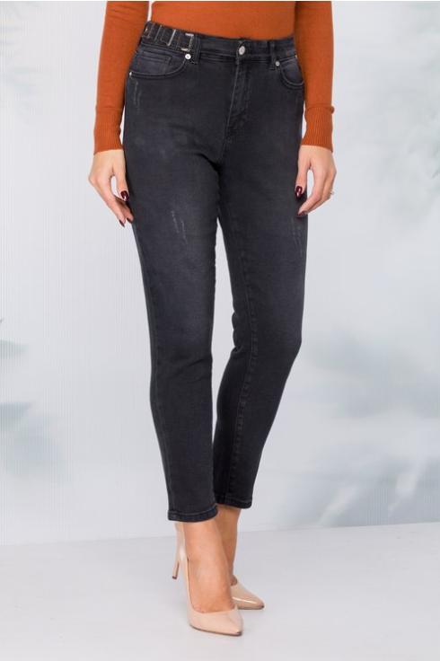 Blugi femei simpli negri cu catarame in talie model slim ieftini