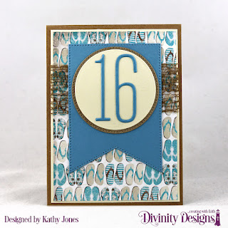 Divinity Designs Custom Dies: Long & Lean Numbers, Large Banners, Circles, Pierced Circles, Paper Collection: By The Shore