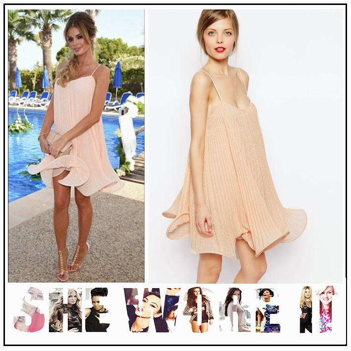ASOS, Chloe Sims, Dress, Hem Detail, Mini Dress, Nude, Pleated, Ruffle Hem, Sleeveless, Structured, The Only Way Is Essex, TOWIE,