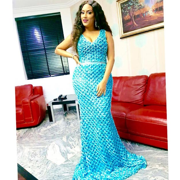 Juliet Ibrahim slays as she steps out in blue gown