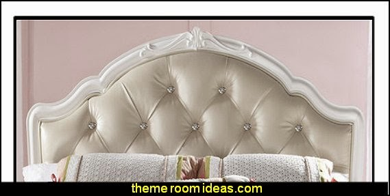 Samuel Lawrence Sweet Heart Upholstered Headboard - Upholstered, tufted panel with rhinestone buttons