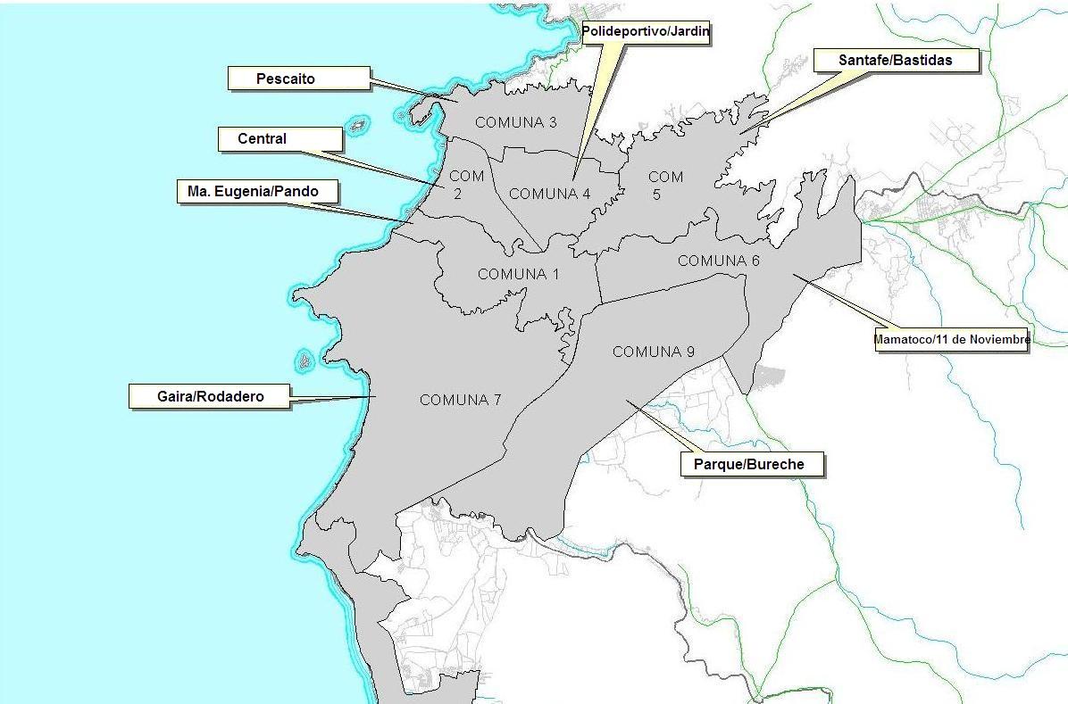 Santa Marta Colombia Mapa.Habitat Y Cultura Comunas De La Ciudad De Santa Marta
