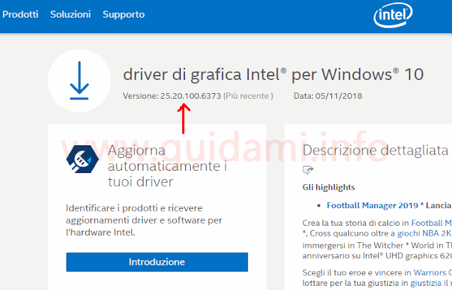 Sito intel pagina download driver grafico