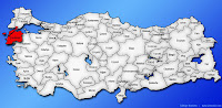 Çanakkale ilinin Türkiye haritasında gösterimi