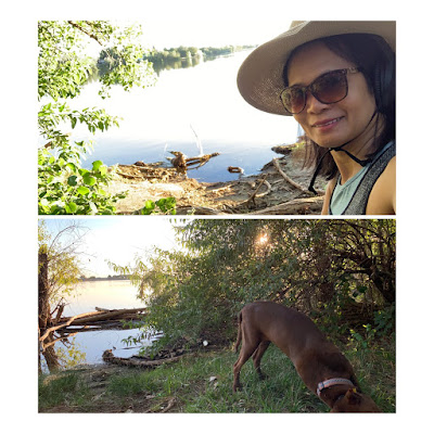 walking around the reservoir with dog