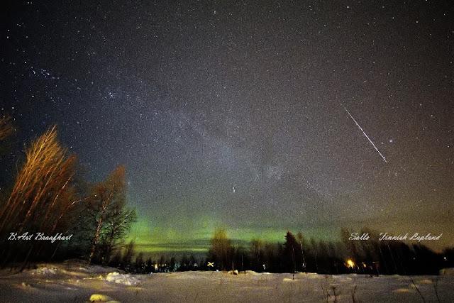 Meteoro da chuva Geminidas registrado na Lapônia, Finlândia - B.Art Braafhart