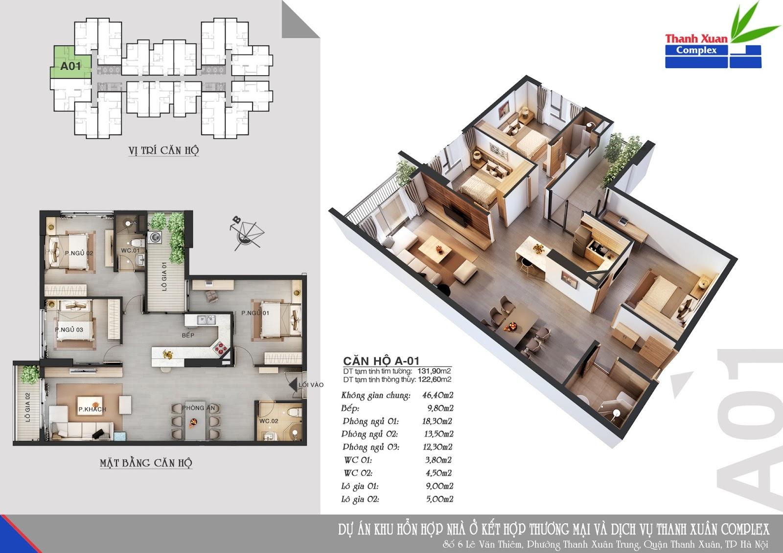 Mặt bằng căn hộ chung cư Thanh Xuân Complex