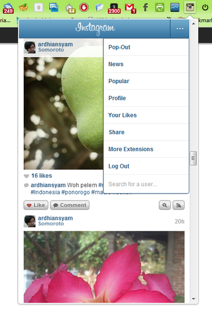 menu instagram for chrome