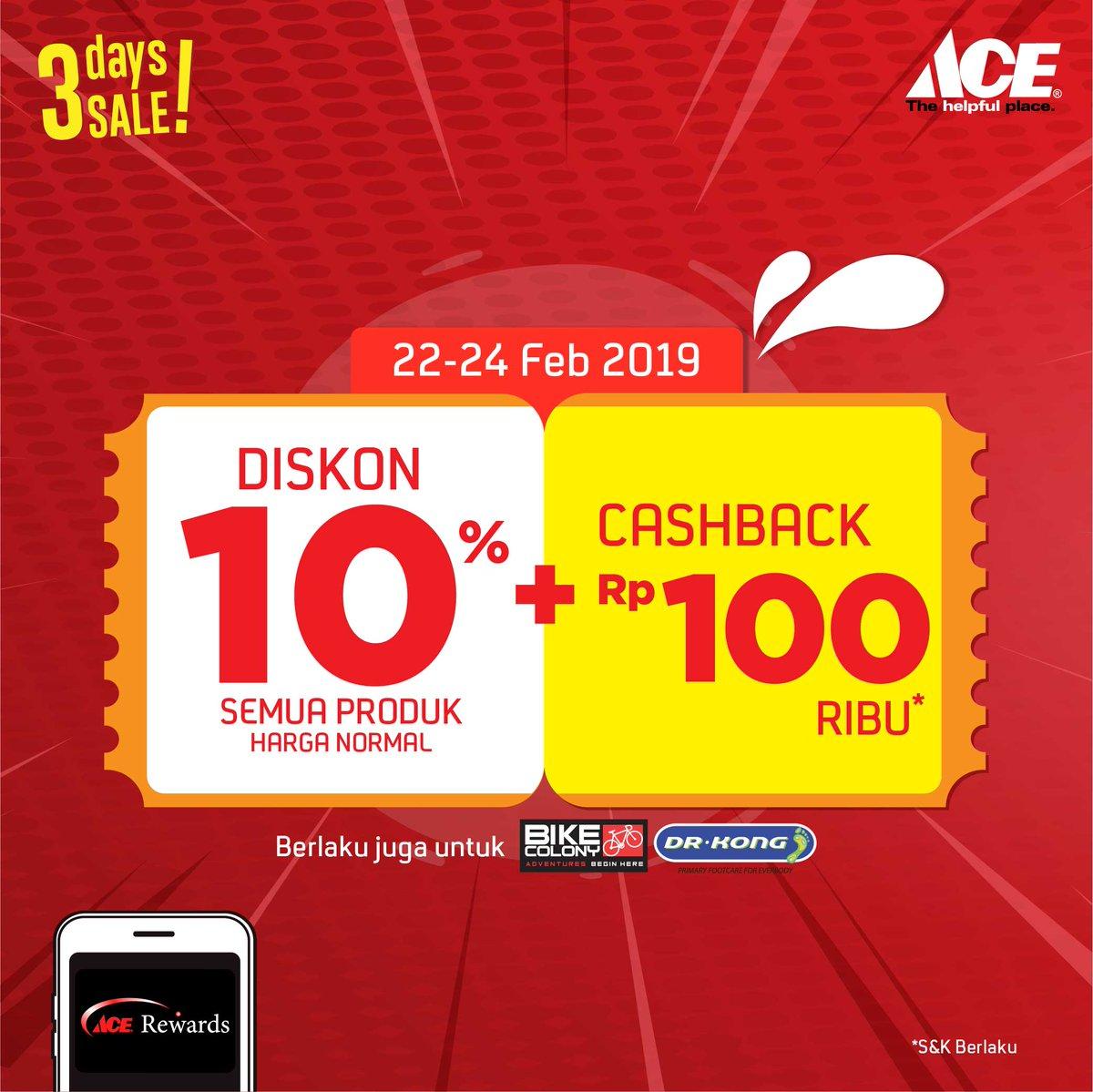 #AceHardware - #Promo Diskon 10% All Produk + Cashback 100Ribu (s.d 24 Feb 2019)