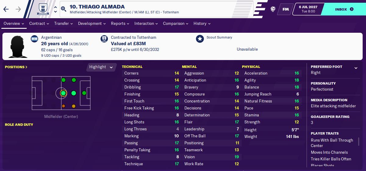 Thiago Almada: Attributes in 2027 season