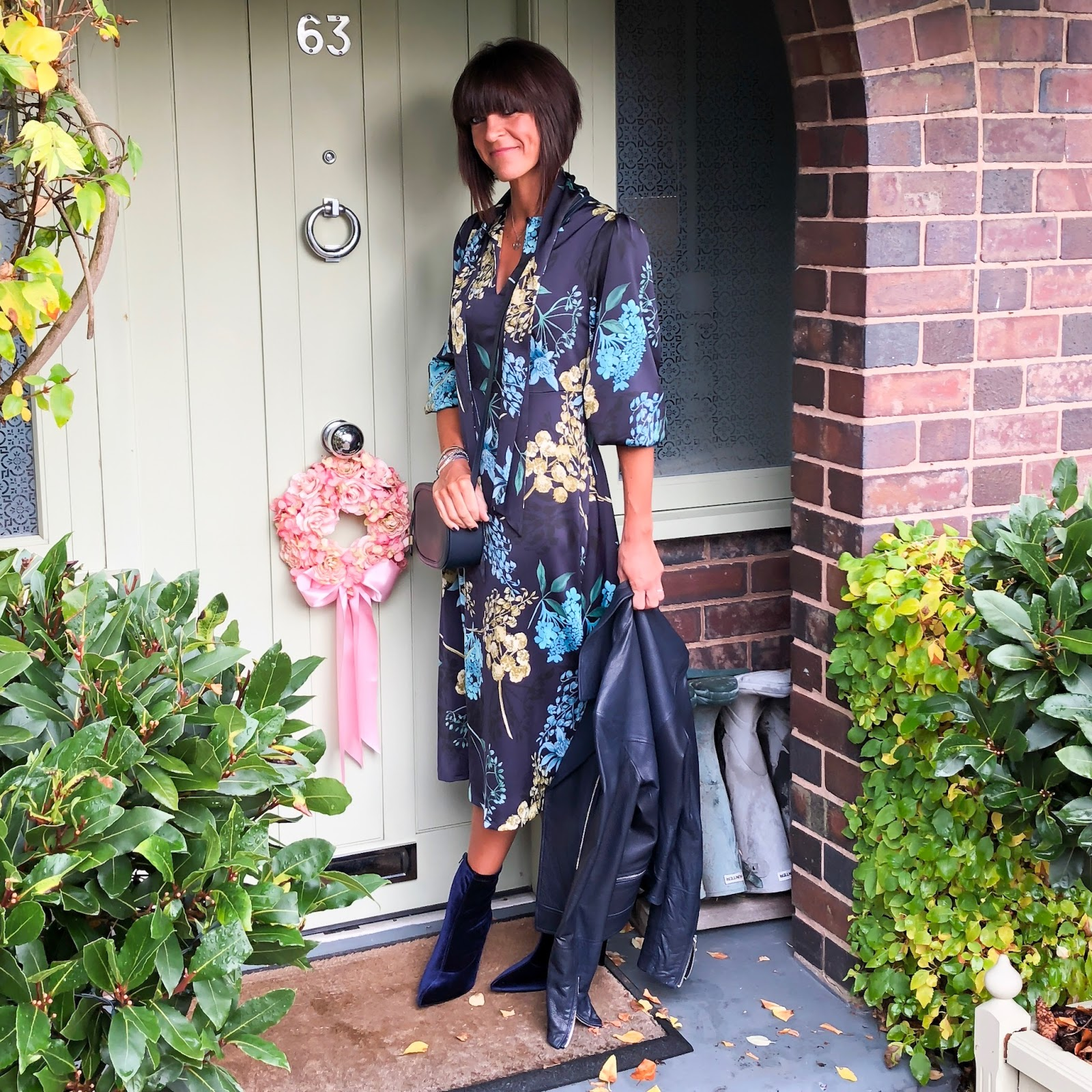my midlife fashion, marks and spencer floral print long sleeve maxi dress, massimo dutti leather biker jacket, marks and spencer stiletto heel side zip ankle boot