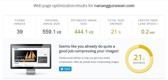Test your site using TinyJPG Analyzer