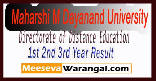 MDUDDE  Maharshi Dayanand University Directorate of Distance Education BA-B.SC-B.COM-MA-M.Sc-M.Com 1st-2d-third Year Result 2018