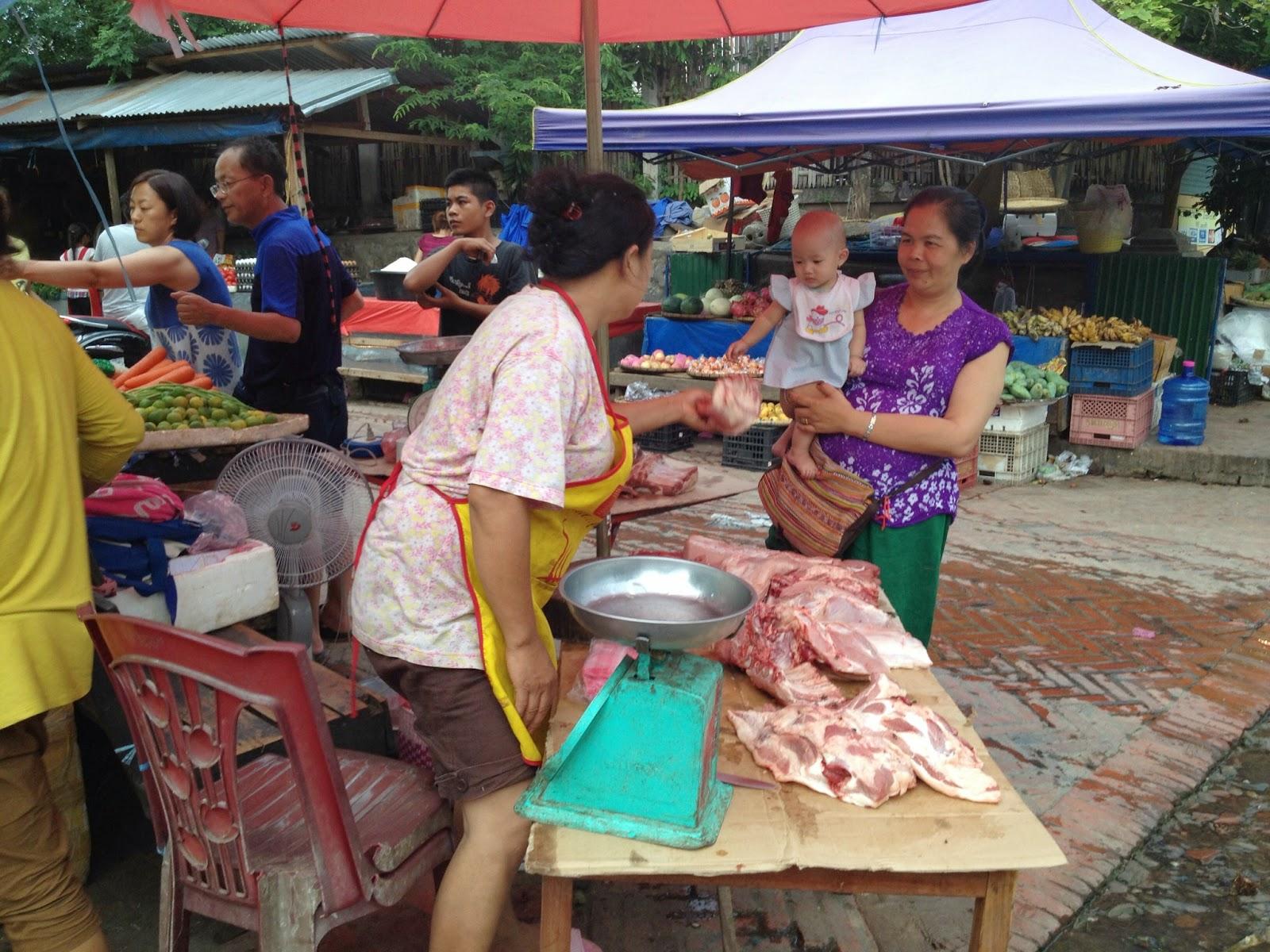 Luang Prabang - Meat vendor at a local outdoor market