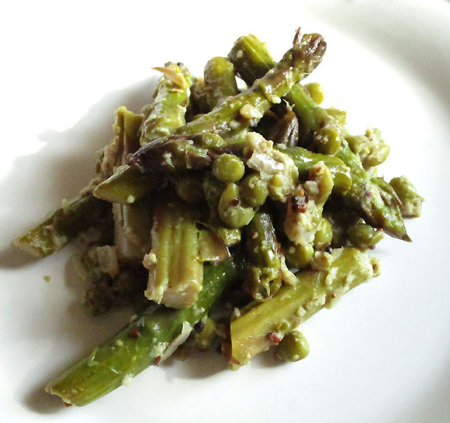 Asparagus and Peas in a Creamy Mustard Sauce