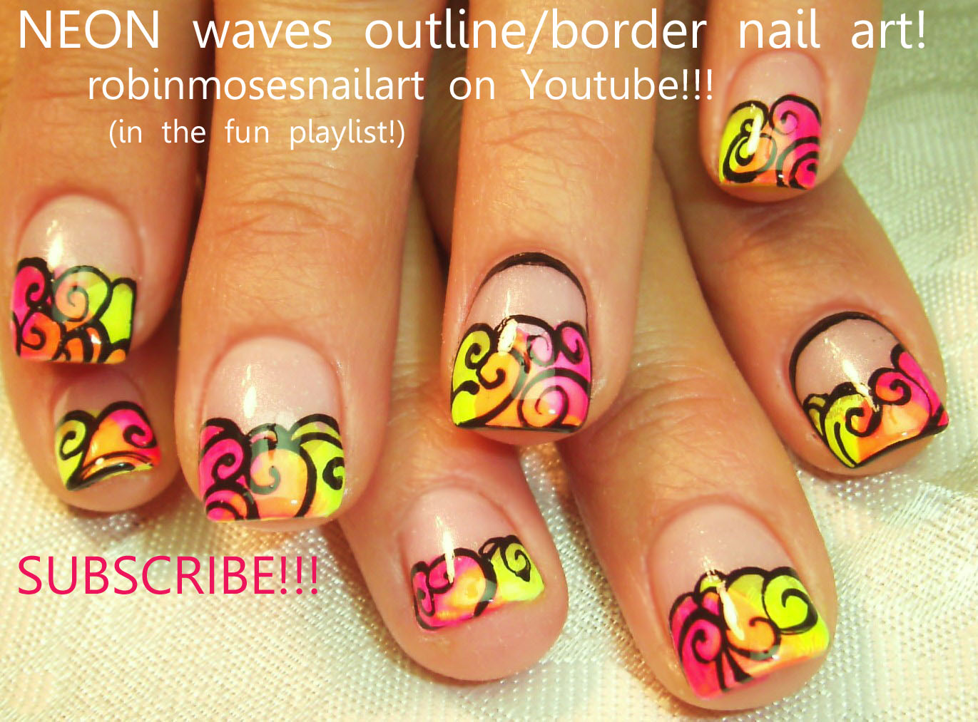 Neon Nails Pink Outline Border Nail Orange Yellow Swirls Midnight Blue Art With