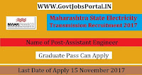 Maharashtra State Electricity Transmission Company Recruitment 2017– 100 Assistant Engineer