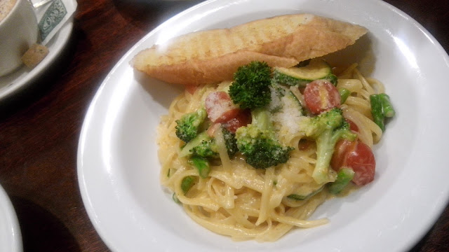 dome,  Classic Primavera Pasta Php 295 Broccoli, zucchini, asparagus and cherry tomato tossed in butter, parmesan cheese, cream sauce on linguine.