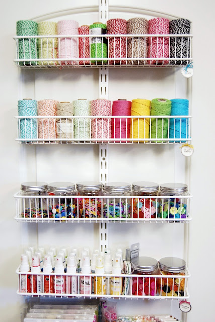 Mendi Yoshikawa's Craft Room Embellishment Storage using Elfa Pantry Door Organizer