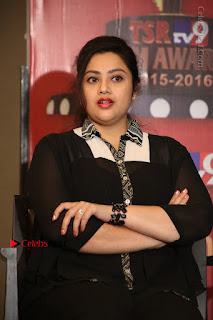 Tamil Actress Meena Latest Stills in Black Dress at TSR TV9 Awards Press Meet  0143.JPG