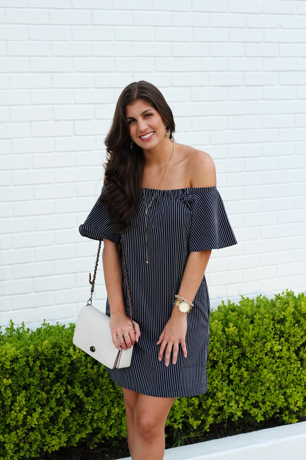 The Best Off-The-Shoulder Dress - Neutral2Neon, Banana Republic, Coach