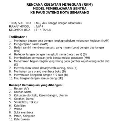 Contoh RKM PAUD Model Sentra KB TPA Usia 3-4 Tahun Lengkap