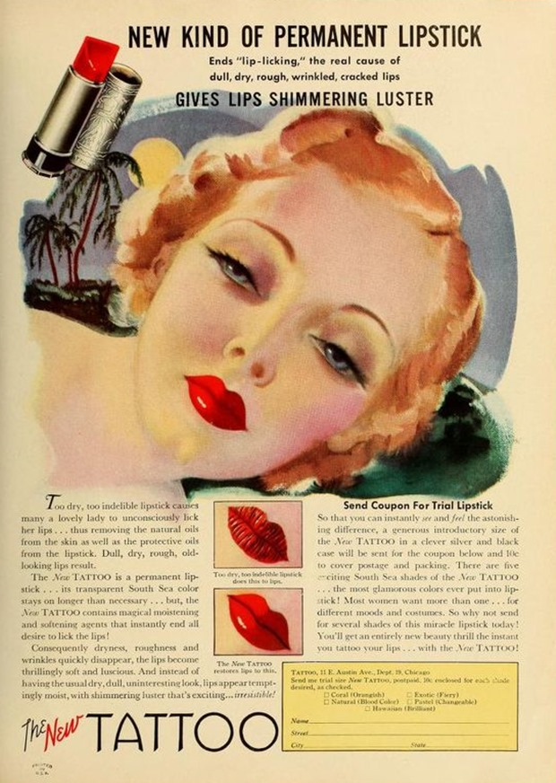 Anúncios vintage de maquiagem, anúncios vintage, publicidade vintage, vintage, vintage makeup ad, vintage ad, história da maquiagem, maquiagem no decorrer das décadas, anúncios de maquiagem dos anos 30