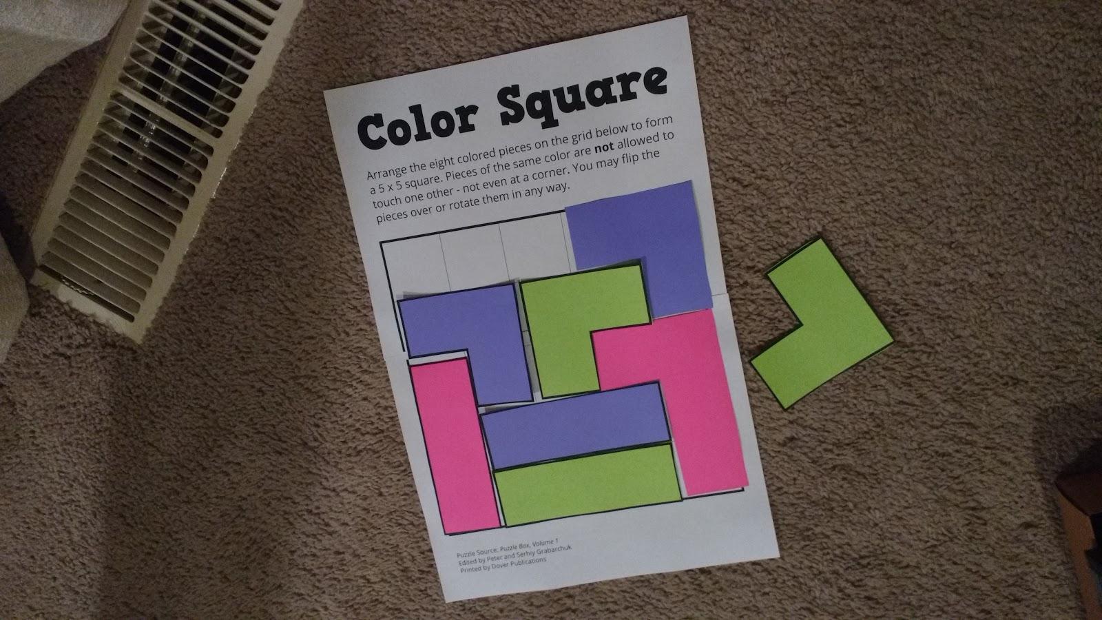 Math Love Color Square Puzzle From Puzzle Box Volume 1