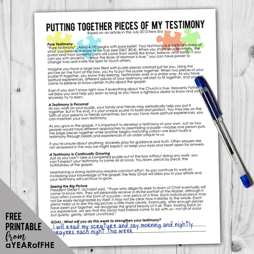 A free printable of an article from the New Era magazine that etaches teens how to acquire a testimony. Includes a space at the bottom for writing in a goal to strengthen your testimony.  #LDS #testimony