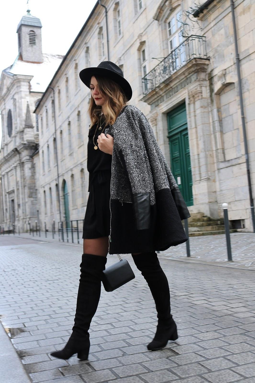 pauline-dress-besancon-look-tenue-du-jour-outfit-cuissardes-black-manteau-chine-boyfriend-chapeau-jonak-hm-believee