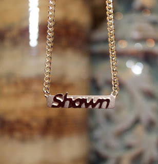 Gold Raised Letter Bar Necklace
