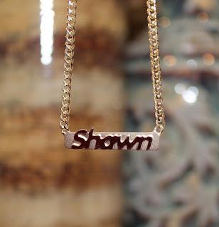 Gold Raised Letter Bar Necklace