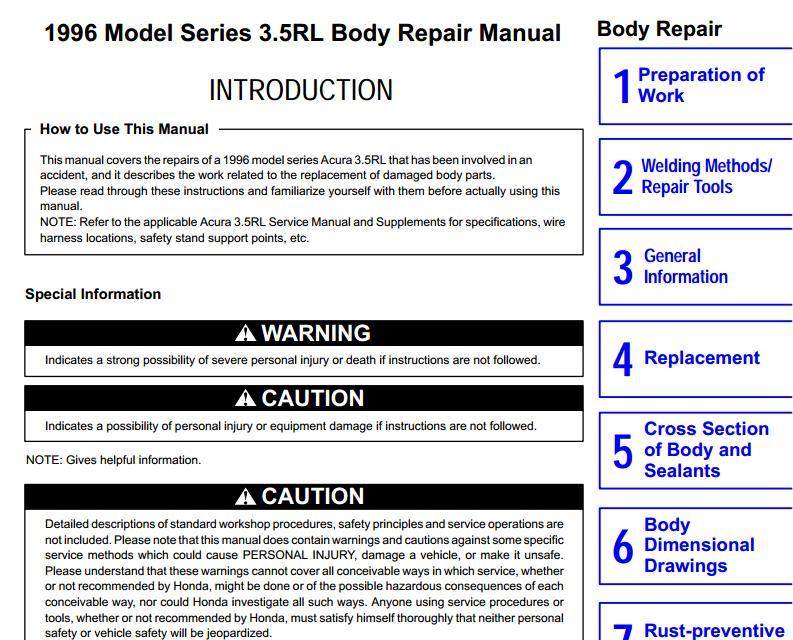 acura rl 1996 repair manual body automotive heavy equipment rh autocars9 blogspot com 1996 acura rl service manual pdf Engine Diagram for Acura 3 5RL 2000