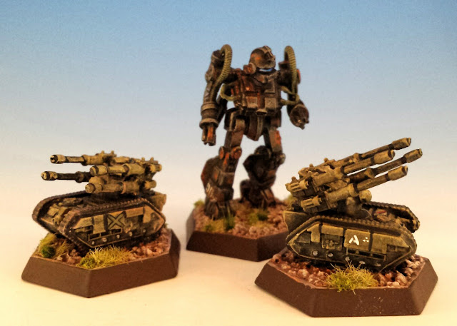 Painted Heavy Tanks for Battletech