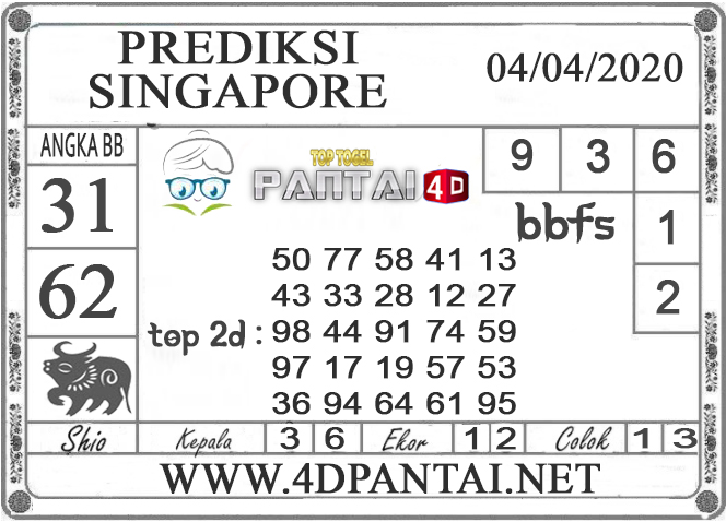 PREDIKSI TOGEL SINGAPORE PANTAI4D 04 APRIL 2020