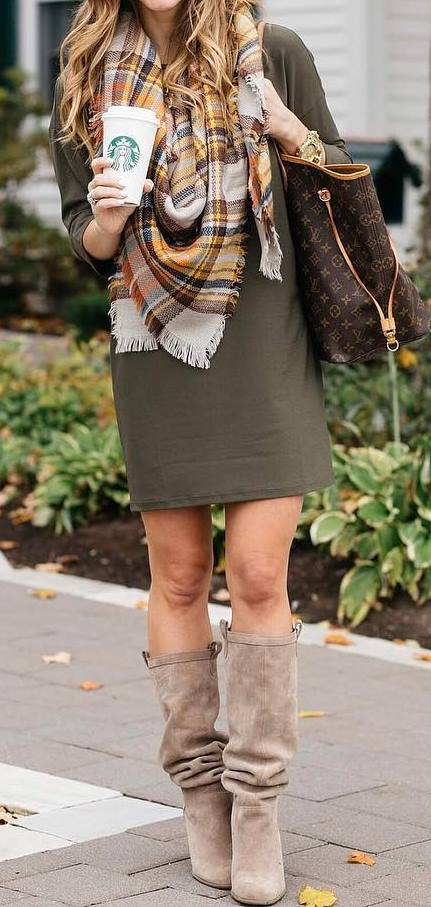 stylish look | dress + high boots + bag + scarf