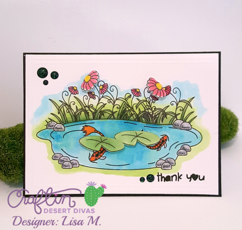 Thank You Card featuring Koi Pond, Lily Pads, Pink Flowers