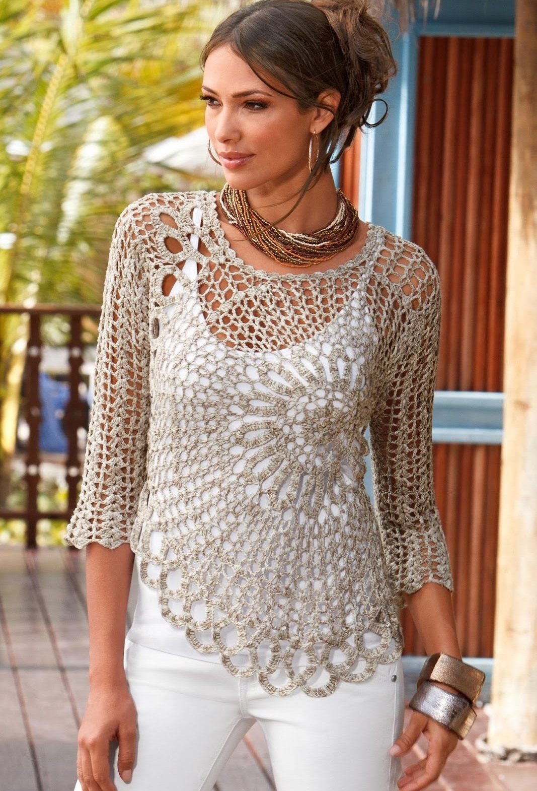 Free Crochet Patterns For Women s Shell Tops : Jersey con Dibujo Central Patron - Patrones Crochet