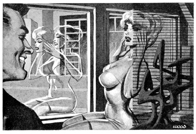 A rather sexy drawing of a well-endowed woman in a tight-fitting dress putting on a face-shaped mask while a man looks on.