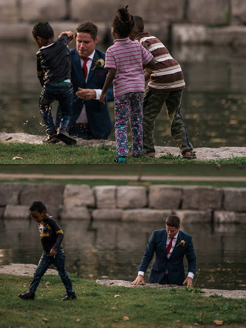 While posing for his wedding photographs, the groom Clayton Cook noticed a child in the pond struggling to stay afloat and so dived in and saved the child's life.