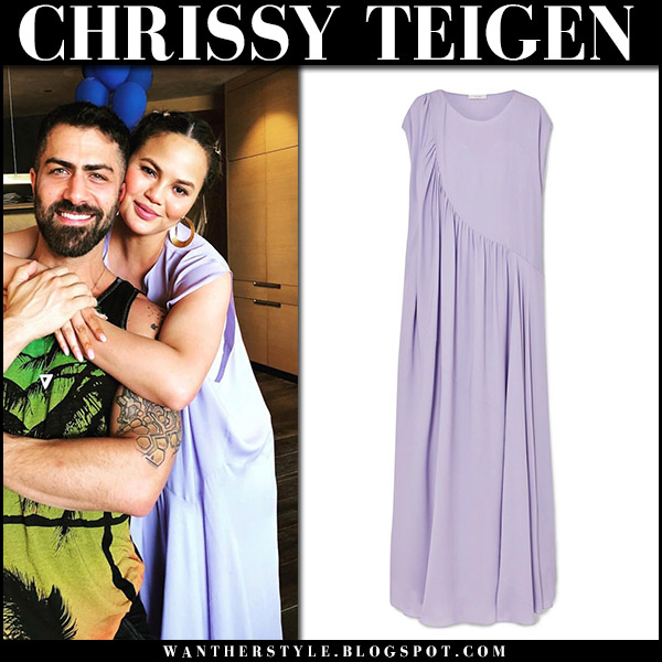 Chrissy Teigen in lavender maxi dress the row medea model maternity style april 14