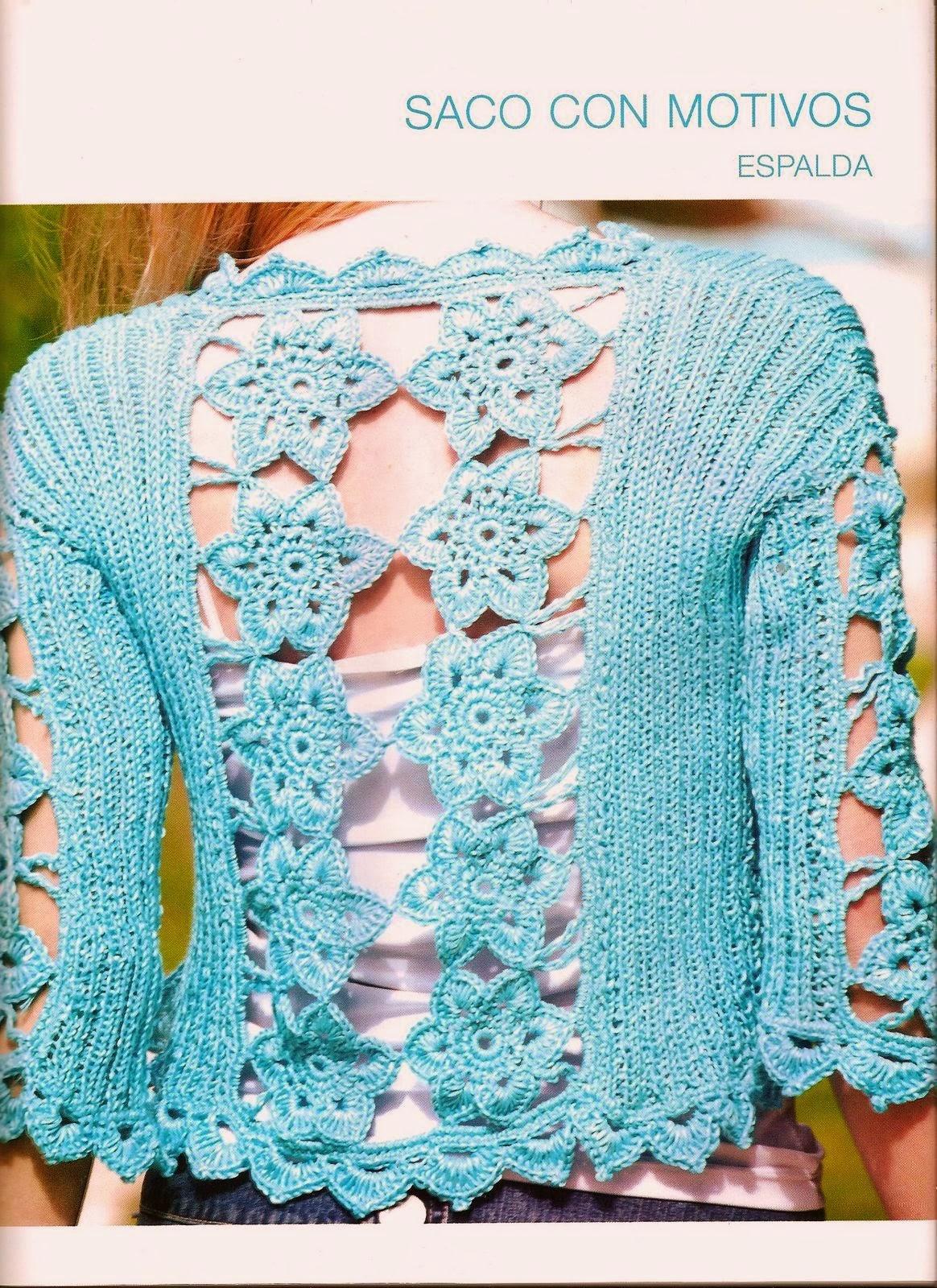 Bolero manga y espalda motivos crochet-tricot