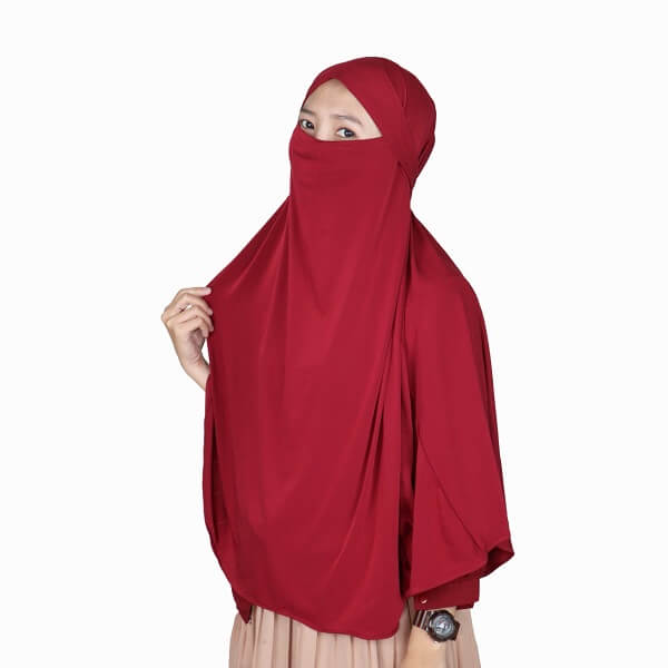 Kerudung Syari / Kerudung Corona Niqab Cadar - Marun