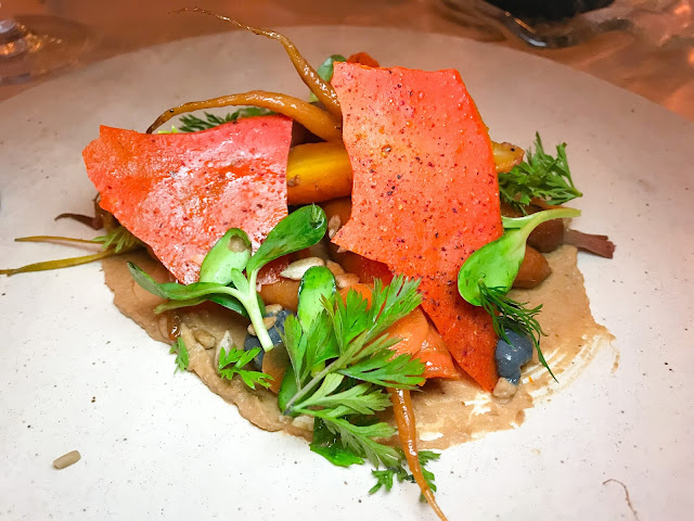 Roasted carrots, smoked tofu, black garlic, sunflower seed butter, lime, dill, sumac.