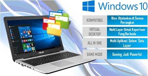 laptop asus x555qg dengan windows 10