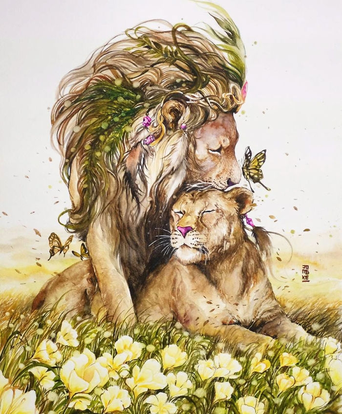 10-Lion-and-Lioness-Jongkie-art-Luqman-Reza-Mulyono-Vibrant-Fantasy-Watercolor-Animal-Paintings-www-designstack-co